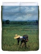 Rice Harvest In Southern China Duvet Cover