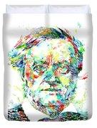 Richard Wagner Watercolor Portrait Duvet Cover