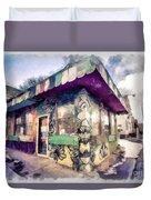 Riding High Skateboard Shop Watercolor Duvet Cover
