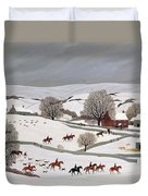 Riding In The Snow Duvet Cover