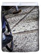 Riding On The Sidewalk Duvet Cover