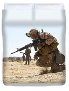 Rifleman Kneels To The Ground While Duvet Cover