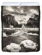 Rime Ice On The Merced In Black And White Duvet Cover