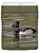 Ring-necked Duck Swallowing Snail Duvet Cover