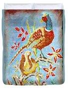 Ringneck Pheasants Duvet Cover
