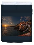 Riomaggiore Peaceful Sunset Duvet Cover by Mike Reid