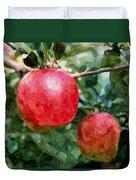 Ripe Red Apples On Tree Duvet Cover