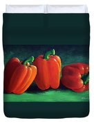 Ripe Red Peppers Duvet Cover