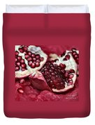 Ripe Red Pomegranate Close Up Duvet Cover