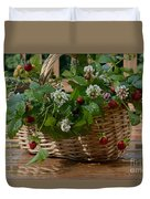 Wild Strawberries And White Clover Duvet Cover