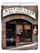 Ristorante La Fornaina. Urbino Duvet Cover