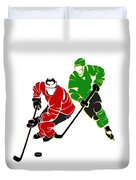 Rivalries Blackhawks And North Stars Duvet Cover