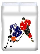 Rivalries Oilers And Flames Duvet Cover