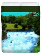 River And Waterfall In France Duvet Cover