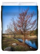 River And Winter Trees Duvet Cover