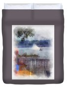 River Boat Speed Racing Vertical Photo Art Duvet Cover