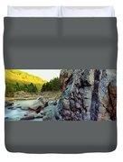 River Flowing Through Rocks, Black Duvet Cover