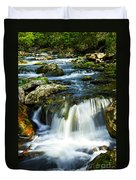 River Flowing Through Woods Duvet Cover