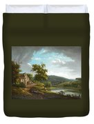 River Landscape With Farmhouse Duvet Cover