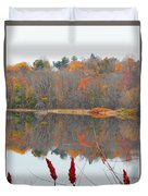 River Mirror Autumn Duvet Cover