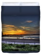 River Mouth At Sunset Duvet Cover