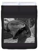 River Otter In Black And White Duvet Cover