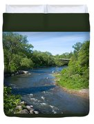 River Passing Through A Forest, Beaver Duvet Cover