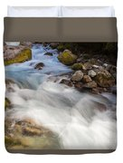 River Rapids Washing Over Rocks With Silky Look Duvet Cover
