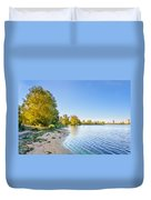 River Shore And Trees Duvet Cover