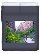 River Walk In Zion Canyon In Zion Np-ut Duvet Cover