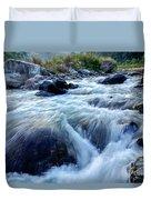 River Water Flowing Through Rocks At Dawn Duvet Cover