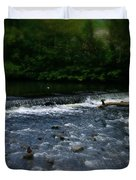River Wye Waterfall - In Peak District - England Duvet Cover