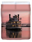 Riverboat At Sunset Duvet Cover