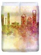 Riyadh Skyline In Watercolour Background  Duvet Cover