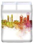 Riyadh Skyline In Watercolour On White Background Duvet Cover