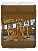 Rms Queen Mary Bridge Well-polished Brass Annunciator Controls And Steering Wheels Duvet Cover