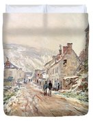 Road In Vetheuil In Winter Duvet Cover