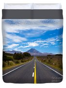 Road Leading To Active Volcanoe Mt Ngauruhoe Nz Duvet Cover