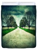 Road Lined By Trees Duvet Cover