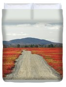 Road Through Autumn Blueberry Maine Duvet Cover by Scott Leslie