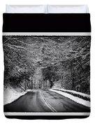 Road Through Dark Snowy Forest E93 Duvet Cover
