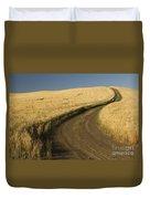 Road Through Wheat Field Duvet Cover