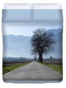 Road With Trees Duvet Cover