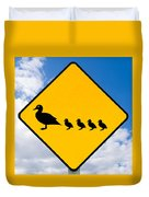 Roadsign Warning Ducks With Ducklings Crossing Duvet Cover