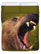 Roaring Grizzly Bears Face Rocky Duvet Cover