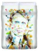 Robert Frost . Watercolor Portrait Duvet Cover