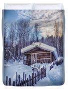 Robert Service Cabin Winter Idyll Duvet Cover by Priska Wettstein