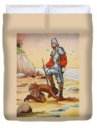 Robinson Crusoe And Friday Duvet Cover