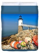 Robinson Point Lighthouse Duvet Cover by Adam Jewell