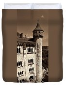 Rocamadour Stone Tower Vertical Panorama Sepia Duvet Cover